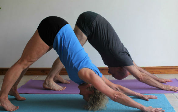 A man and woman holding the downward dog yoga position on their yoga mats.